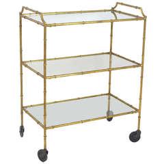 Faux Bamboo Gilt Metal 3 Tier Bar Cart