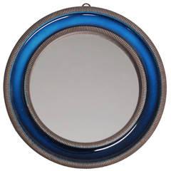 Knabstrup Mirror Blue Ceramic Signed Denmark 1960's