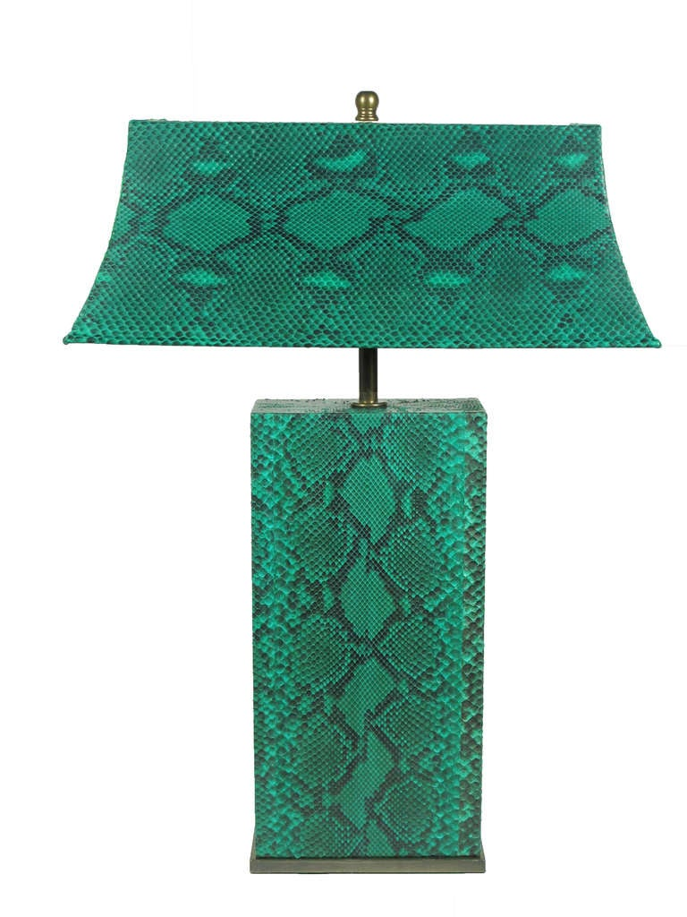 Karl Springer Python Table Lamp USA 1970's. An early example of Springer's exotic hide covered furniture. Complete with shade. Re-skinned by a former Springer workshop artisan, Eileen Johnson. Rewired and sockets updated for immediate use. Mounted