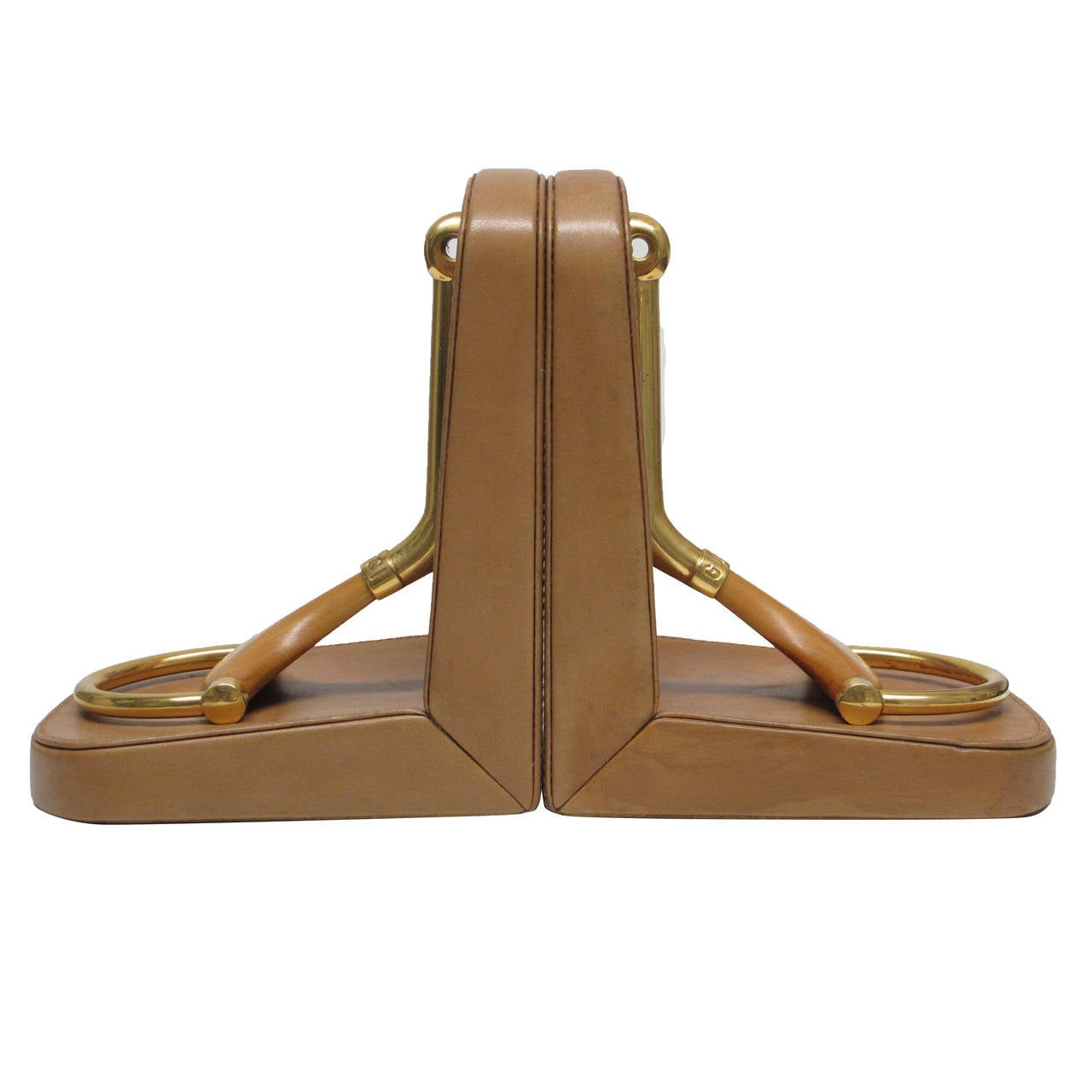 Horsebit Gucci Bookends in Brass Wood and Leather at 1stdibs