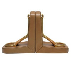 Horsebit Gucci Bookends in Brass, Wood and Leather