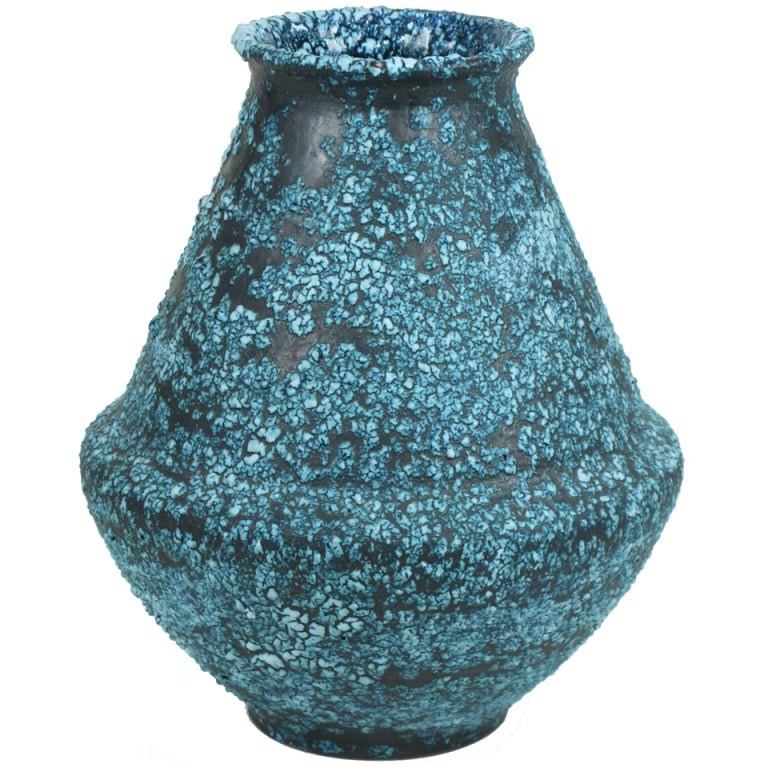 Ceramic Vase with Pebbled Blue and White Glaze after Fantoni 1