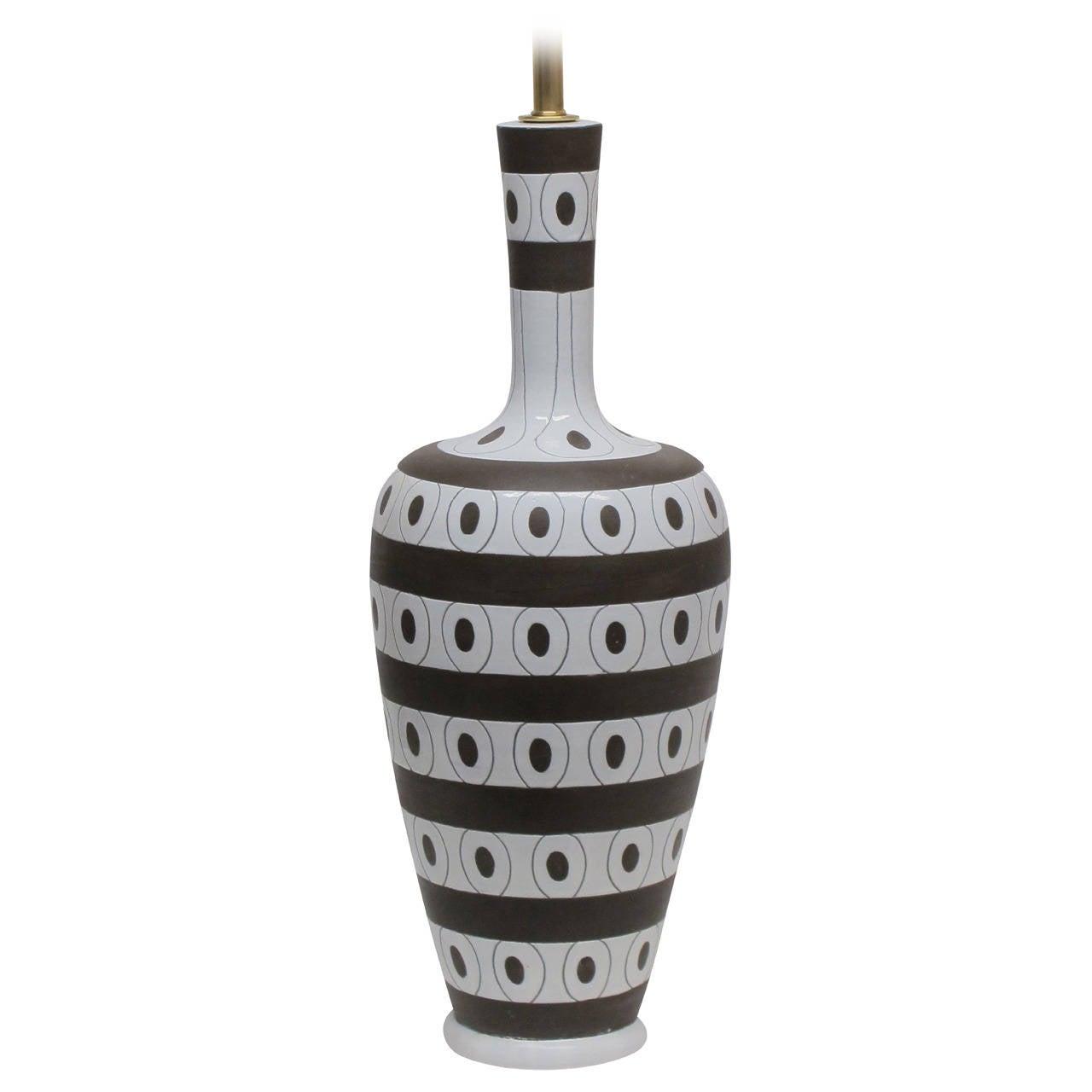 zaccagnini ceramic table lamp white brown stripes circles signed italy 1950u0027s 1
