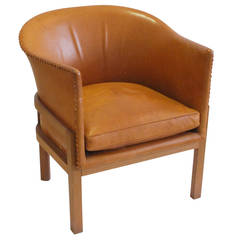 Leather Armchair in Tan Oxhide by Mogens Koch