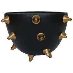 Bitossi Raymor Italian Ceramic Bowl Gunmetal Gold Spikes, Signed, Italy, 1960s