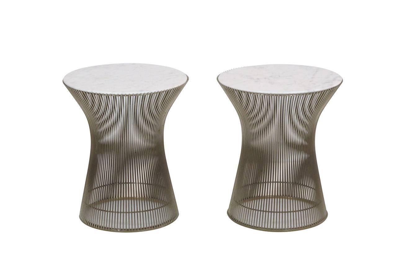 Pair of white marble top platner tables in nickel for for Table warren platner