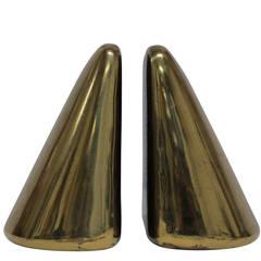 Ben Seibel for Jenfredware Brass Wedge Bookends, USA, 1950s Signed