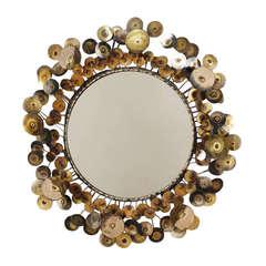C. Jere Raindrops Mirror in Copper and Brass