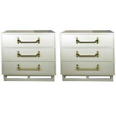 Grosfeld House Chests Brass and White Lacquer Signed USA 1940's