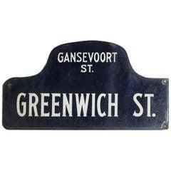 Street Sign Manhattan New York City Greenwich St. Porcelain Humpback