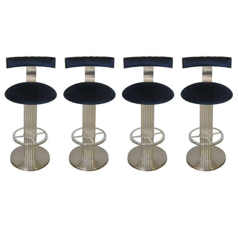 Set of Four Nicked Plated Swivel Bar Stools by Designs for  : 1240850l from www.1stdibs.com size 768 x 768 jpeg 34kB