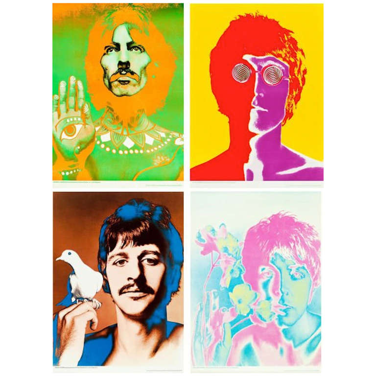 Set of Four Beatles Posters by Richard Avedon for Look ...