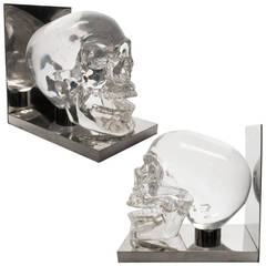 Pair of Skull Bookends in Lucite and Nickel France 1970s