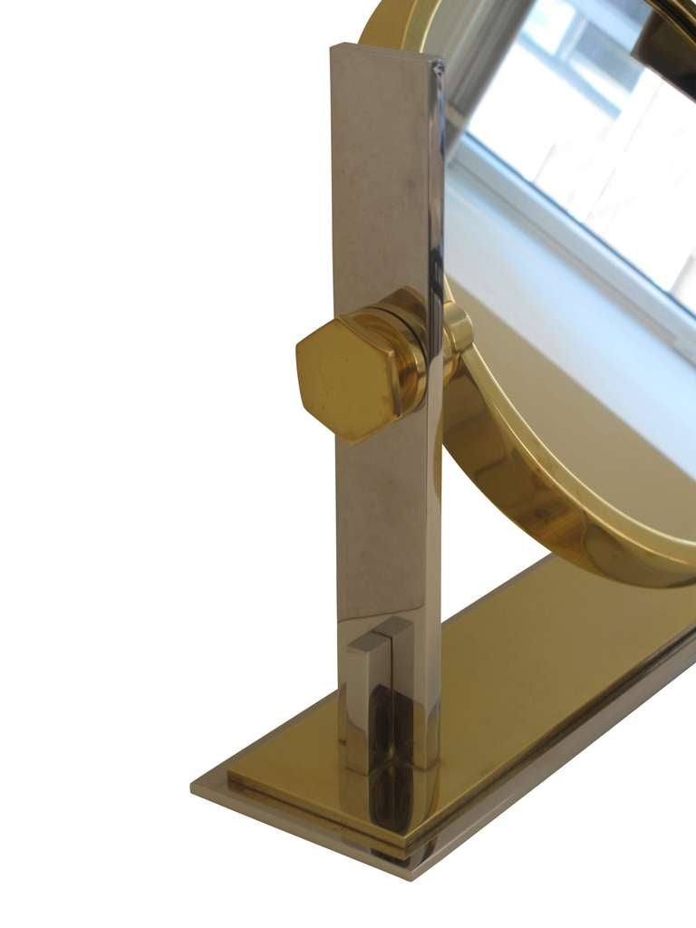 Karl springer table top vanity mirror in chrome and brass plated karl springer table top vanity mirror in chrome and brass plated steel 3 geotapseo Image collections