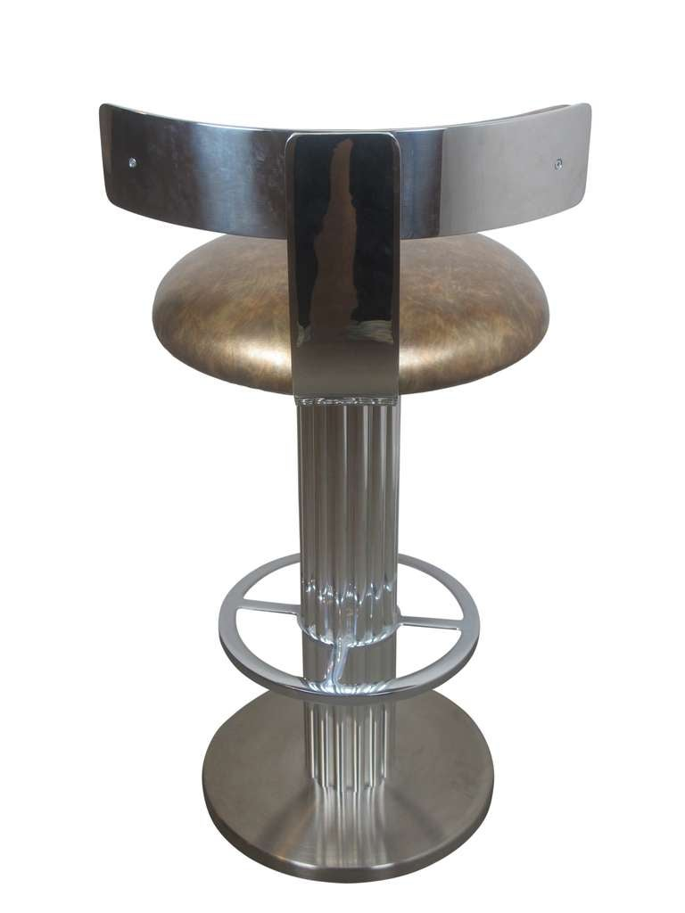 Pair Of Reeded Column Bar Stools In Nickel By Designs For