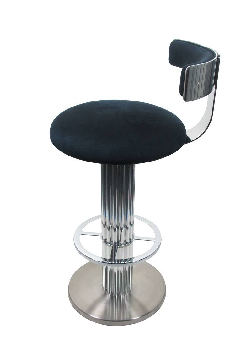 Pair Of Nickel Plated Swivel Bar Stools By Designs For