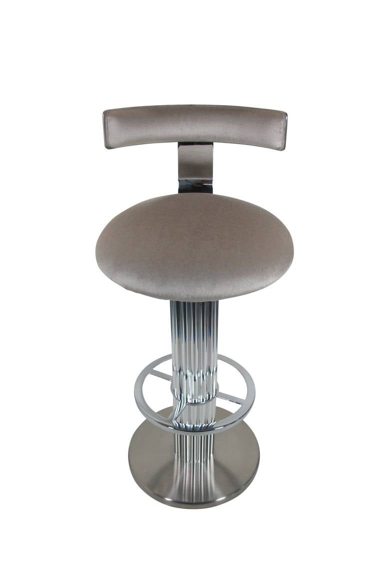 Pair Of Reeded Column Swivel Bar Stools By Designs For