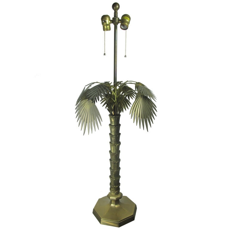 bronze and brass palm tree table lamp by chapman at 1stdibs. Black Bedroom Furniture Sets. Home Design Ideas