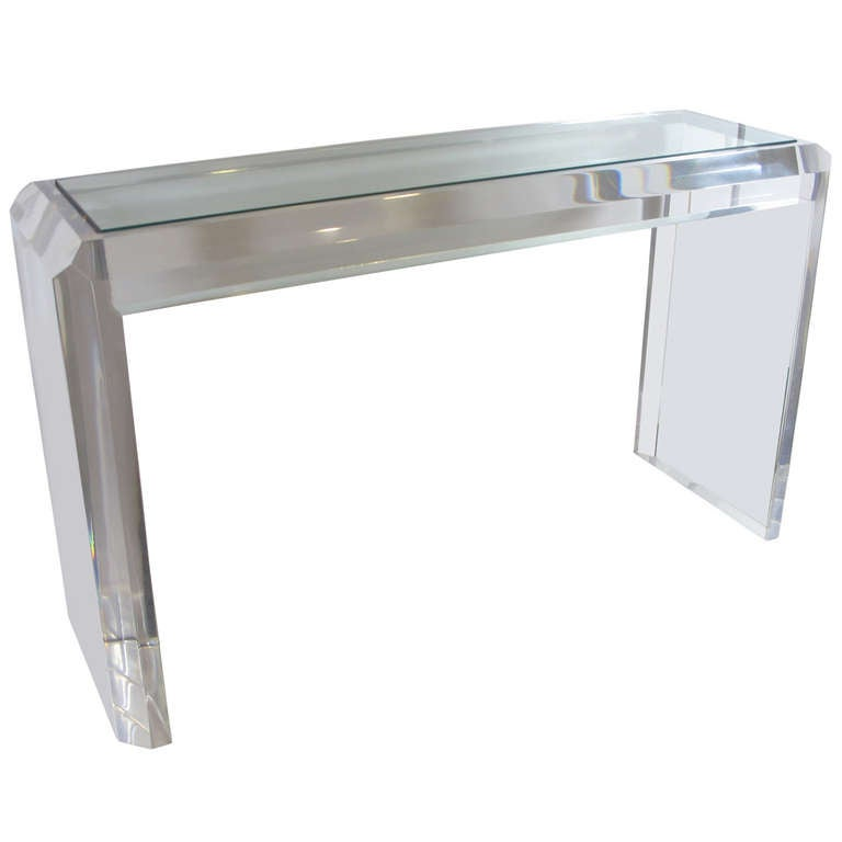 Acrylic console table lucite waterfall console table at for Small acrylic console table