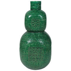 Raymor Bitossi Ceramic Vase Emerald Green Signed Italy 1960's