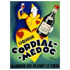 Large Framed 1930's French Cordial Medoc Poster by Henri Lemonnier