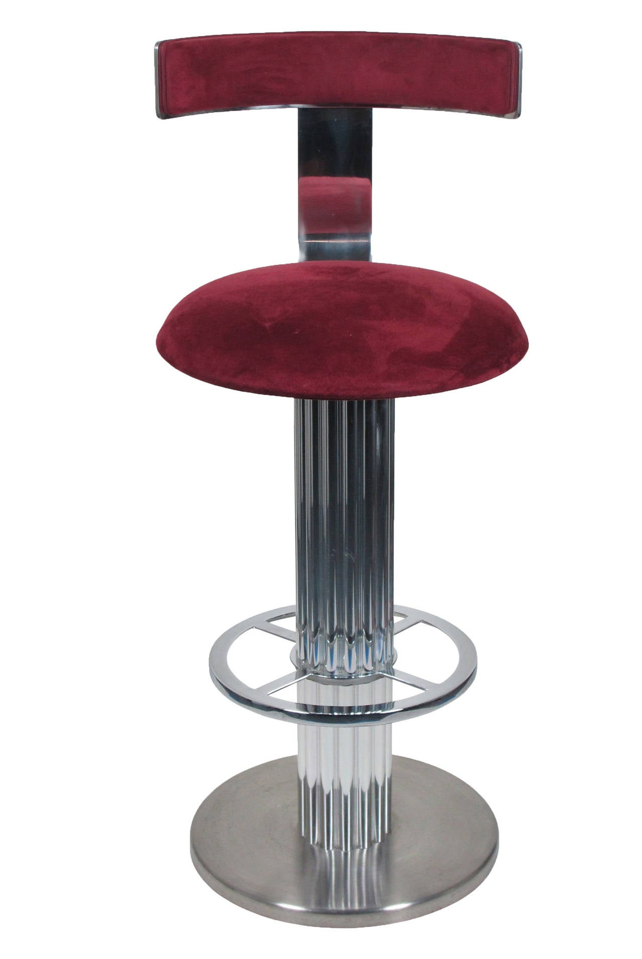 Set Of Five Reeded Column Swivel Bar Stools By Designs For