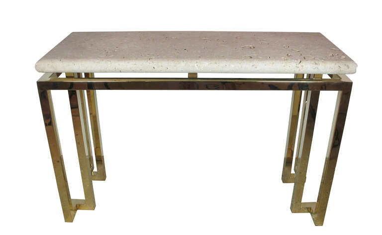 Luten Clarey Stern Inc. Fossil Stone And Brass Console Table USA 1980u0027s 2