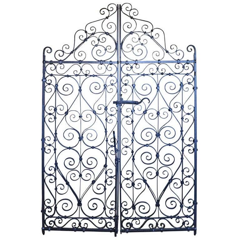 Pair Of Decorative Wrought Iron Garden Gates At 1stdibs