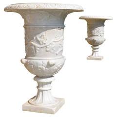 Fine Pair of Late 19th Century Italian White Marble Urns