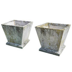 Pair of Mid-20th Century Square Stone Planters of Taper Form