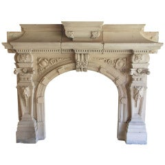 An Impressive Early 19th Century Fireplace In Natural Limestone
