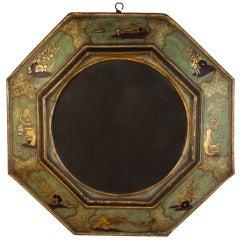 A Georgian Green Lacquer Chinoiserie Octagonal Wall Mirror