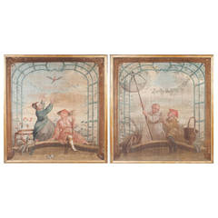 A rare pair of painted Chinoiserie canvas panels
