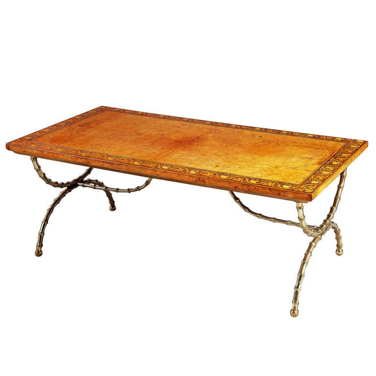 A Fine Burr Oak And Polished Brass Low / Coffee Table At