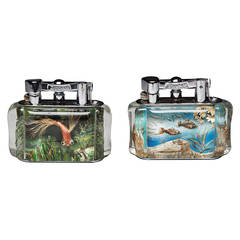 Two rare Dunhill Aquarium Table Lighters