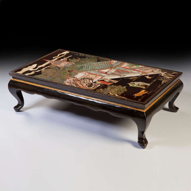 Beautiful A Fine Late 19th Century Coromandel Lacquer Panel, Now Mounted As A Low  Table.