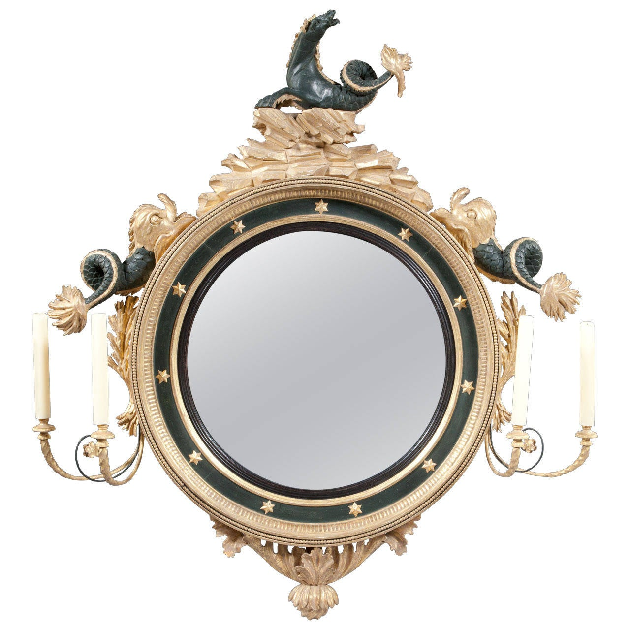 Fine regency convex mirror at 1stdibs for Convex mirror for home