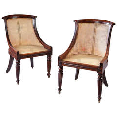 A Pair Of Faux Rosewood Painted Library Chairs