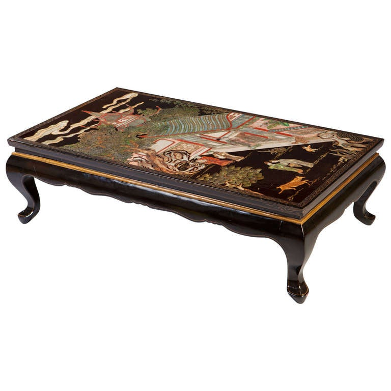 A coromandel lacquer low coffee table for sale at 1stdibs for Lacquer coffee table