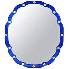 Large Art Deco Blue Bordered Mirror