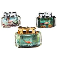 Three Dunhill Aquarium Table Lighters