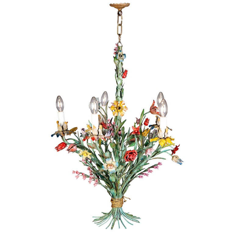 A Fine Painted Tole Flower Chandelier At 1stdibs