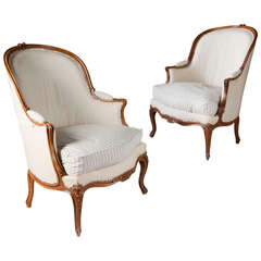 Fine Pair of Large Scale 18th Century Bergere Armchairs