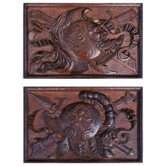 Pair of large scale French carved oak Trophy Panels