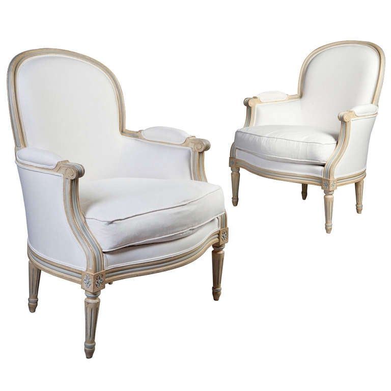 A Pair Of Neoclassical Bergere Tub Bedroom Chairs