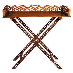A Chippendale Mahogany Butlers Tray on Stand - Table