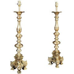 A Large Pair of Brass Candlestick Lamps