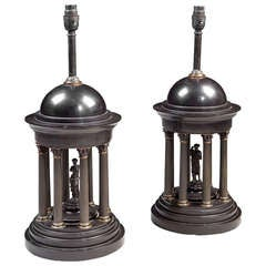 A Pair of Neo Classical Black Marble Table Lamps