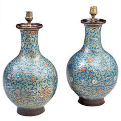 A Pair Of 19th Century Chinese Cloisonne Vases Mounted As Table Lamps