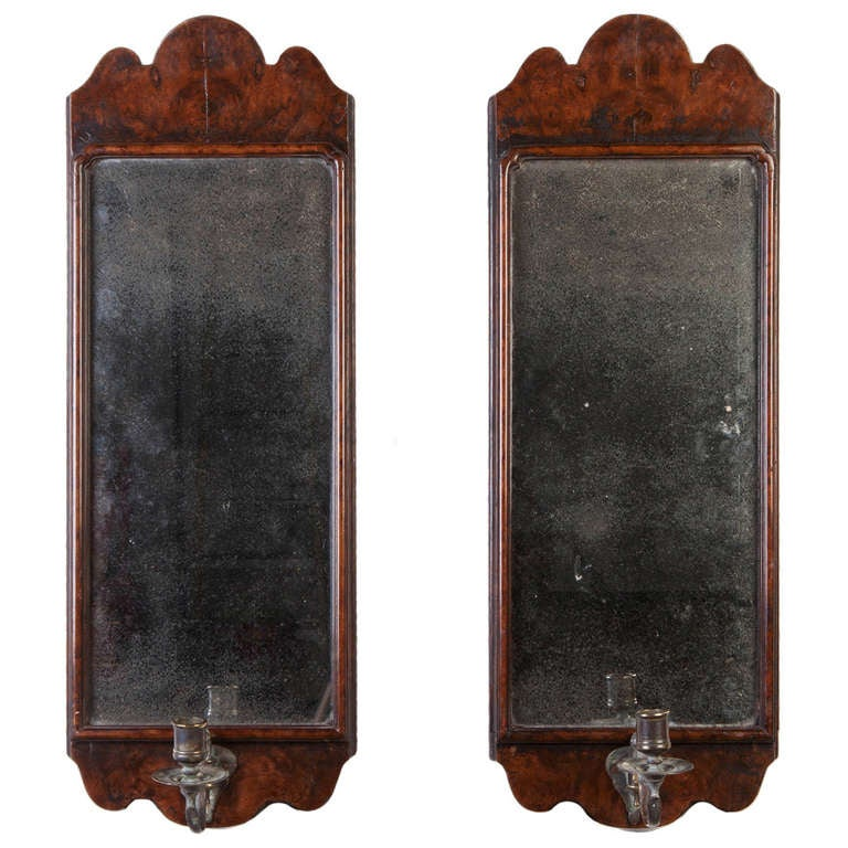 A Pair of Walnut Sconce Mirrors